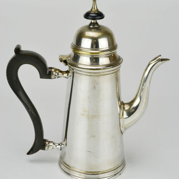 Silver Plated and Horn Personal Teapot Antique English Early 1900s
