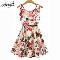 New Apricot Sleeveless O-Neck Florals Print FREE SHIPPING