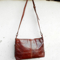 Vintage THE BRIDGE Chestnut Brown Leather Shoulder Bag // Small // Made in Italy
