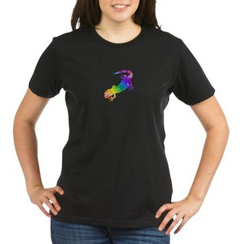 Distressed Rainbow Salamander Organic Women's T-Shirt (dark)