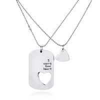 Simple Hand Stamped Lovers Couple Pendants Necklaces Cute Heart Letters Hiphop Necklace For Men Women Jewelry Love