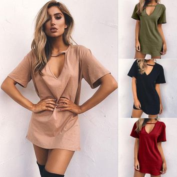 Ireland Cut Out Tee - Fashion Women Summer Loose Casual Cotton Short Sleeve Shirt Dress Tops Blouse