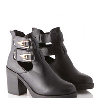 Gayla Pu Boot with Gold Buckles and Back Zip in Black at Fashion Union