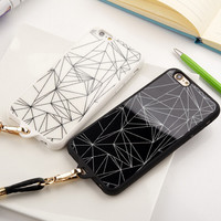 Cool Geometry iPhone 5s 6 6s Plus creative case Cover + Leather Rope Gift-121