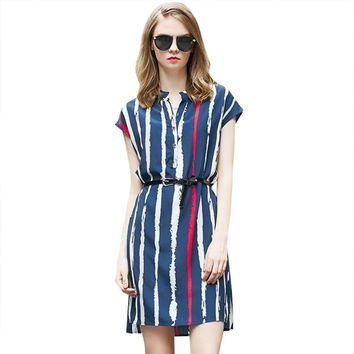 Stylish Stand Collar Single-breasted Striped Shirt Dress with Belt for Women