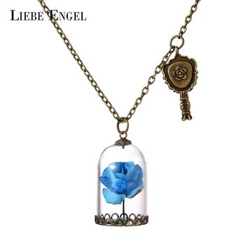 LIEBE ENGEL Glass Bottle Paper Flowers Necklace & Pendant Choker Statement Necklace Fashion Vintage Beauty And The Beast Jewelry