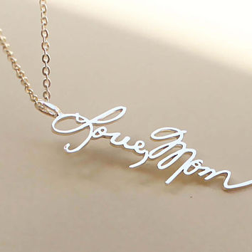 Personalized Signature Necklace - Signature Pendant - Memorial Jewelry - Handwriting Jewelry - Vertical Pendant