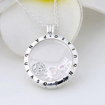 Pandulaso Forever Hearts Floating Locket Large Pendant Choker NEW Original 925 Silver Charm Necklaces & Pendants for Women