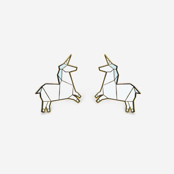 Unicorn Earrings - Blue