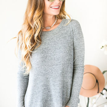 True Love Lace Up Back Grey Top