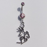 Browning Titanium Anodized Silver With Pink Rhinestone Charms With Heart & Sexy Deer Mate Belly Navel Ring Jewelry