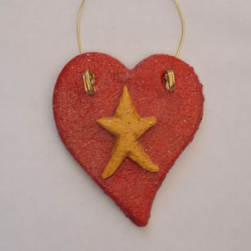 Christmas Ornament Handmade Yellow Star Red Heart Primitive Country Salt Dough Hand Painted