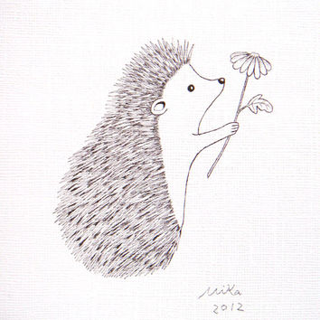 Hedgehog with Flower Ink Drawing Print Black & White Wall Art Woodland Love Illustration Rustic Home Wall Decor 5x7 Simple Modern Art MiKa