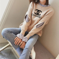"""Chanel"" Women Casual Long Sleeve Letter Stripe Shirt False Two-Piece Sweater Tops"