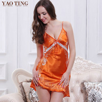 Free Shipping Brand Quality Women Deep V Neck Sleepwear Sexy Nightgowns Satin Silk Nighties Floral Print Sleepshirts Lounge