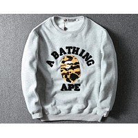 Bape classic camouflage skull letter printed long-sleeved T-shirt F-A-KSFZ grey