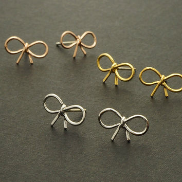 Tiny Bow Stud Earrings