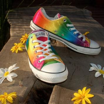Studded Converse - Satin Rainbow Studded Converse Allstars - Hard to Find Rare Chucks
