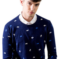 Navy Embroidered Knitted Sweater