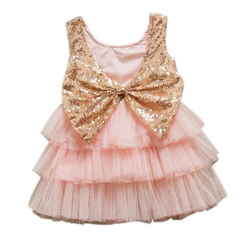 12M-5TGirls Sequined Bow Backless Dress