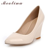 Meotina High Heels Women Wedge Heels Shoes Woman Pumps Pointed Toe High Heels Wedges F