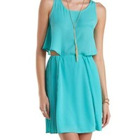 Jade Front-Tucked Pleated Chiffon Dress by Charlotte Russe