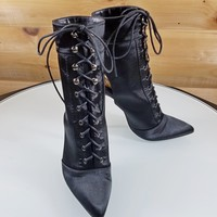 Tweety Black Lace Up Open Toe / Back High Heel Booties Boots