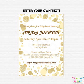 Gold Baby Shower Invitation, Editable Baby Shower Invite, Gender Neutral Baby Shower Invite, Gold Baby Invite, Printable Invitation CB0003-g