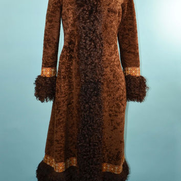 Vintage 60s 70s Exquisite Mongolian Curly Lamb Shearling Brown Gypsy Penny Lane Style Boho Bohemian Chic Princess Coat w/ Tapestry Detail XS