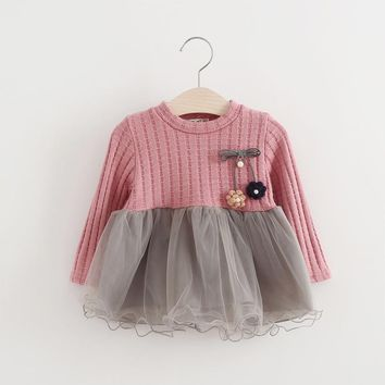 Autumn Patchwork Baby Girls Mesh Dress Fashion Toddler Clothing Knitting Sweater Dresses for Infant First Year Birthday Party