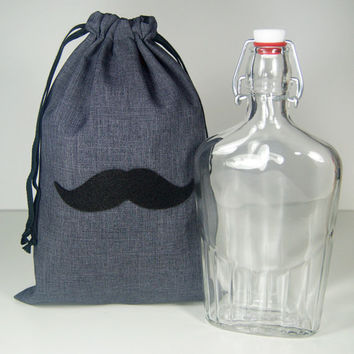 Groomsmen Gift Bag for Flask - Flask Gift Bag - Flask Gift Wrap - 8x12 Mustache or Necktie Gray Gift Bag