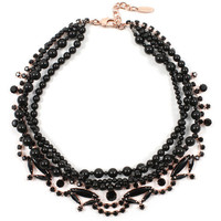 Black Out Crystal & Pearls Necklace - Rose Gold/Black