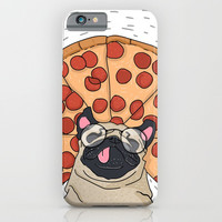 Funny Pug Pizza iPhone & iPod Case by lostanaw