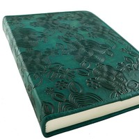 Turquoise Floral Embossed Notebook with Handmade Paper