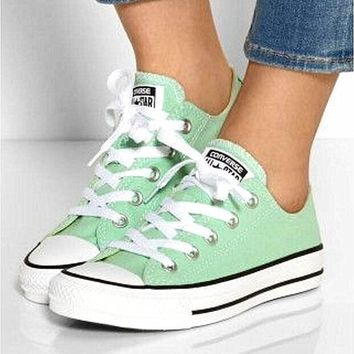 Converse All Star Sneakers canvas shoes for Unisex sports shoes Low-top mint green-1
