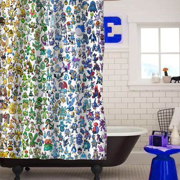 pokemon all shower curtain custom shower curtain