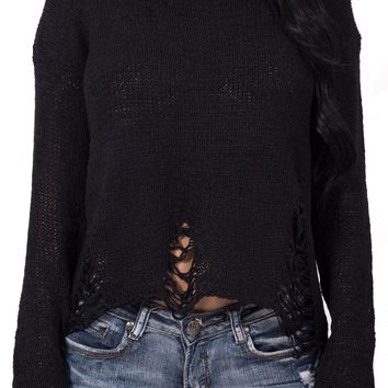 Distressed Knit Sweater in Black