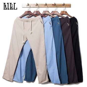 Men's Casual Linen Pants Breathable Thin Flax Trousers