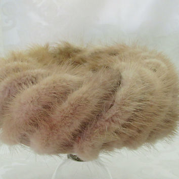 Vintage Light Brown Mink Fur Pillbox Hat