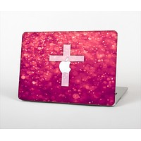 The Vector White Cross v2 over Unfocused Pink Glimmer Skin Set for the Apple MacBook Air 11""