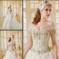 YZ Fashion & Bridal Luxury Crystal Bright Diamond Sexy Fancy Wedding Dress IWXN from YZ Fashion Bridal