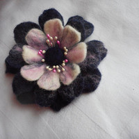 White Pink Purple Flower brooch,Felt flower brooch,wool pin, scarf,corsage accessories,hair clip flower,wet felted brooch,gift ideas for mom