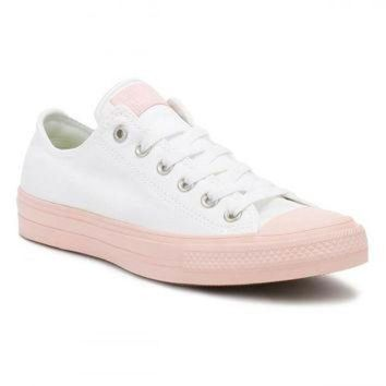 DCKL9 Converse All Star Chuck Taylor II Womens Ox White/Vapour Pink Trainers