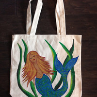 Tote Bag with Hand Painted Mermaid