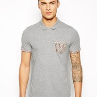 ASOS Polo With Contrast Pocket And Roll Sleeves