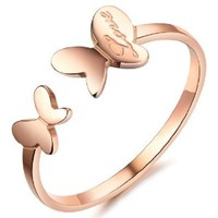 MagicPieces Women's Fashion Jewelry Butterfly Shape Titanium Stainless Steel Ring DP 0506