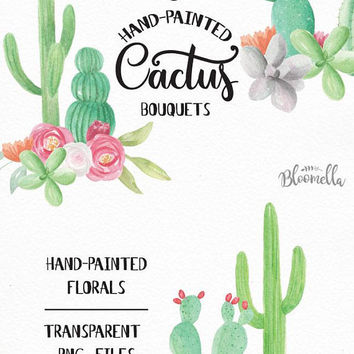 Watercolour Cactus Bouquet Clipart - 6 Arrangements Cacti Succulents - Hand Painted INSTANT DOWNLOAD Individual Package PNGs Flowers digital