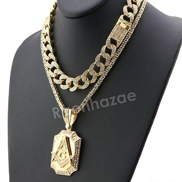 Hip Hop Iced Out Quavo Freemason Miami Cuban Choker Chain Tennis Necklace L31