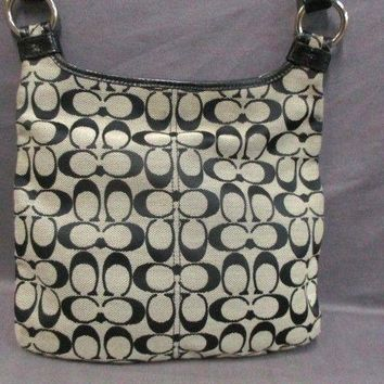 Auth COACH F16536 Ivory Black Shoulder Bag
