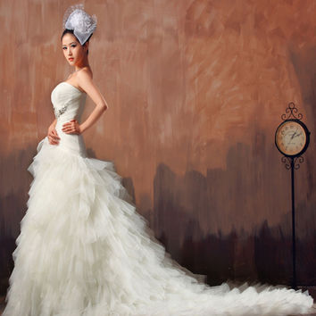 free shipping 2016 long maxi crystal white goddess ball gown costume beaded wedding dress gown materials decorating with tulle